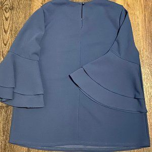 🌻 First Love Slate Blue Bell Sleeve Top L